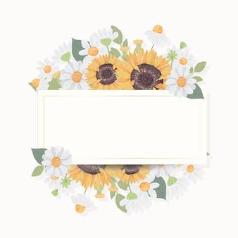 金色のフレームでかわいいひまわりの花束の花輪を手描き