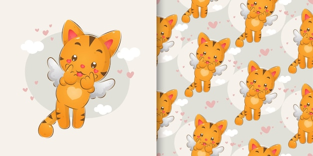 The hand draw of the cuties cats with the little wings in the pattern set of illustration