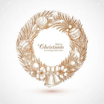 手描きの装飾されたクリスマスリーススケッチカード