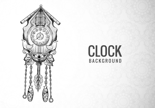 Hand draw decorative alarm clock sketch design