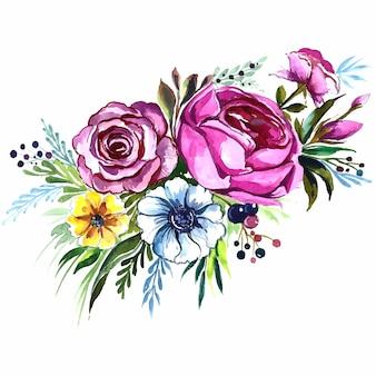 手描きの装飾的なカラフルな花の束の水彩デザイン