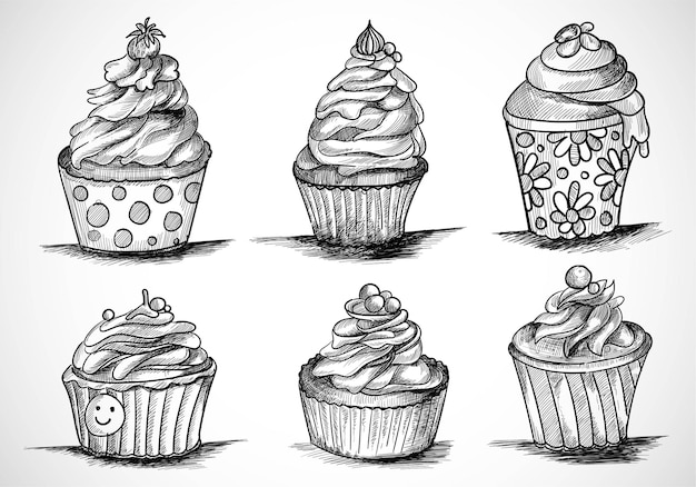 Hand draw decorative cup cakes set sketch design