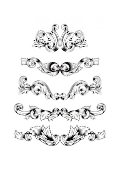 Hand draw decorative damask design set