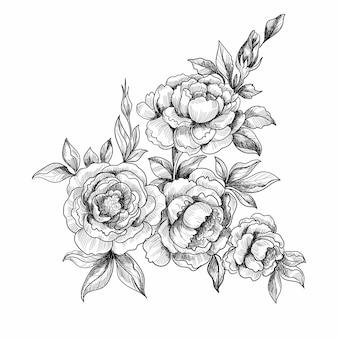 손으로 그리는 장식 꽃 스케치 디자인