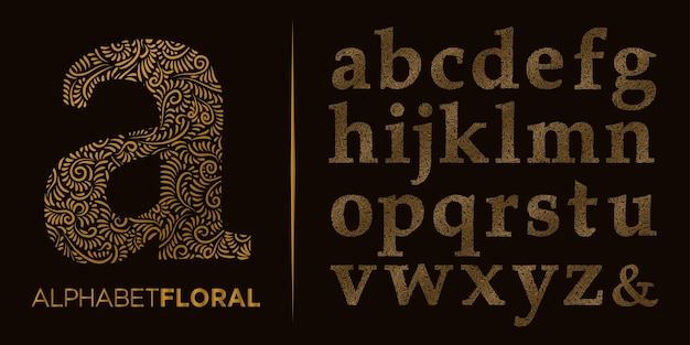 Hand draw decorative letter  a z  logo alphabet vector