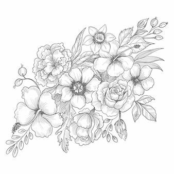 손으로 그리는 장식 웨딩 꽃 스케치