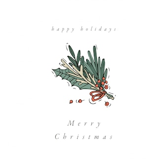 Hand draw design for christmas greetings card colorful color. typography and icon for xmas background, banners or posters and other printables. winter holidays design elements.