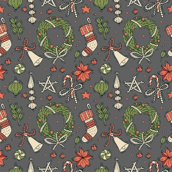 Hand draw design for christmas greetings pattern