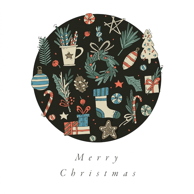 手は、クリスマスのグリーティングカードのカラフルな色のデザインを描きます。タイポグラフィとクリスマスの背景、バナーやポスター、その他の印刷物のアイコン。冬の休日のデザイン要素。