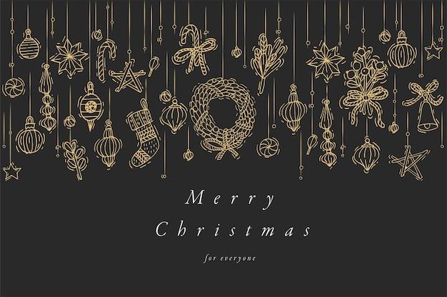 Рука рисовать дизайн для рождественских поздравительных открыток красочного цвета. типография и значок для рождественского фона, баннеров или плакатов и другой печатной продукции. элементы дизайна зимних праздников.