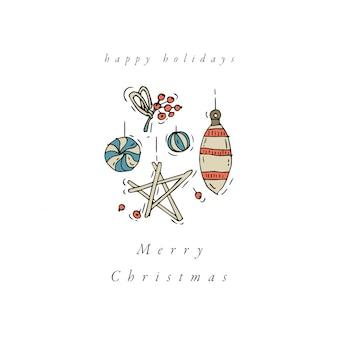 손으로 그린 크리스마스 인사말 카드 화려한 색상 디자인. 겨울 방학 디자인 요소.