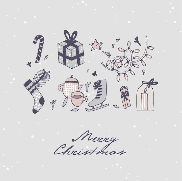 손으로 크리스마스 인사말 패턴 디자인을 그립니다. 완벽 한 크리스마스 배경, 배너 또는 포스터 및 기타 인쇄물. 겨울 휴가 디자인 요소.