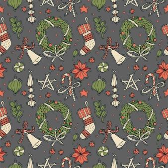 クリスマスの挨拶パターンの手描きデザイン