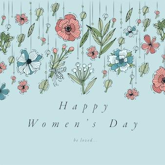 手は女性の日のグリーティングカードのカラフルな色のデザインを描画します。 3月8日の背景、バナーやポスター、その他の印刷物のためのタイポグラフィとアイコン。春の休日のデザイン要素。