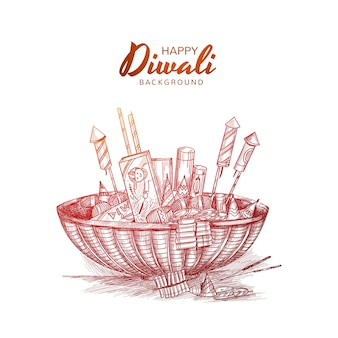 Hand draw diwali crackers sketch