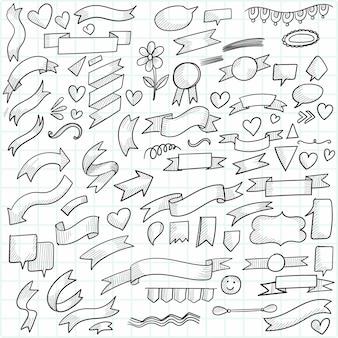 手描き落書き矢印とリボンスケッチセットデザイン