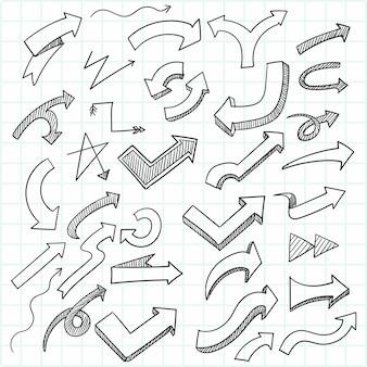 Рука рисовать каракули стрелка эскиза дизайн набора