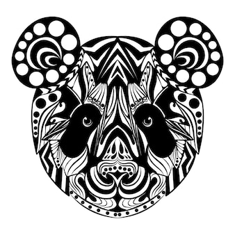 The hand draw of the doodle art of the panda full of the zentangle ornament