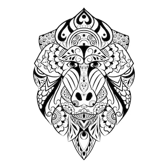 The hand draw of the doodle art zentangle of mandrill for the tattoo inspiration