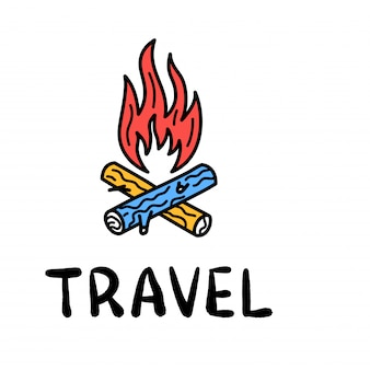 Hand draw doodle bonfire and wood travel camp icon.