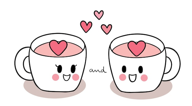 Hand draw doodle cartoon cute valentine's day, two cupslover