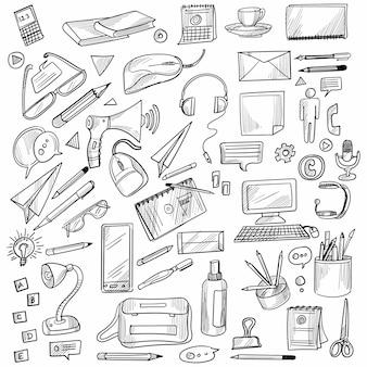 手描き落書き装飾セットデザイン
