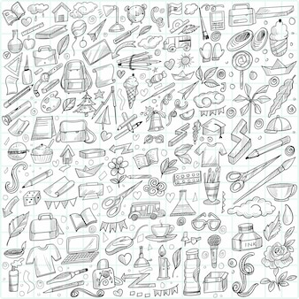 Hand draw doodle education and work set sketch design