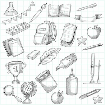 Hand draw doodle education and work set