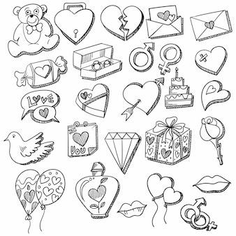 Рука рисовать каракули сердца эскиз дизайн набора