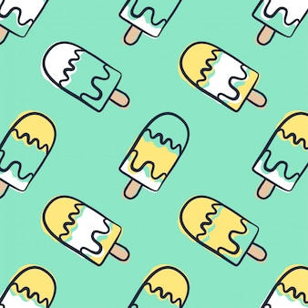 Hand draw doodle ice cream seamless pattern