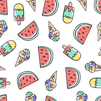Hand draw doodle ice cream and watermelon seamless pattern