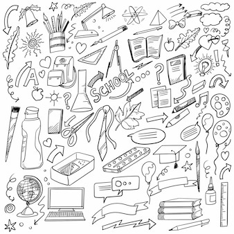 Hand draw doodle school and work set design