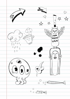 手描き落書きベクトルイラスト
