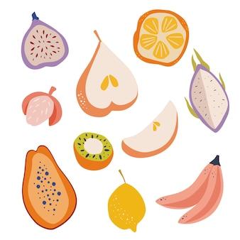 エキゾチックなフルーツを手描きします。梨、パパイヤ、ドラゴンフルーツ、オレンジ、レモン、ライチ、バナナ。ビーガン、農場、自然食品のイラスト。ベクトル熱帯の甘い果物。