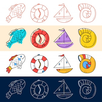 Hand draw fish, sea shell, boat, travel icon set in doodle style for your design.