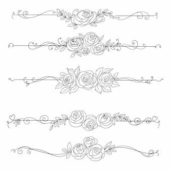 손으로 그리는 꽃 우아한 패턴 라인 스케치 디자인