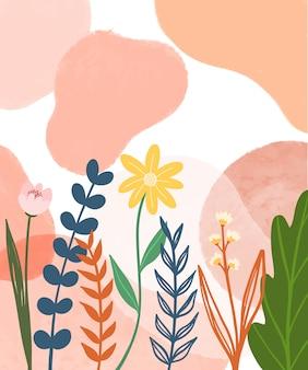 손으로 꽃 그림 배경을 그립니다.