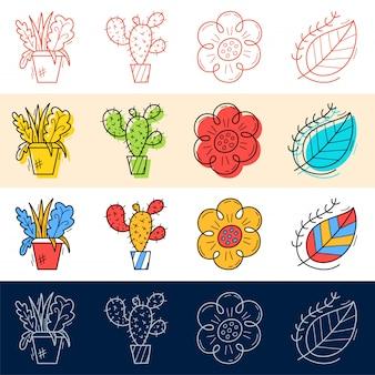 손으로 그리는 꽃, 선인장, 잎 아이콘 디자인을위한 낙서 스타일 설정