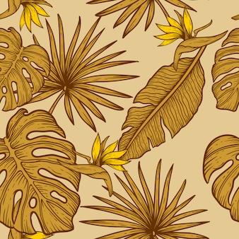 Hand draw flower pattern design seamless