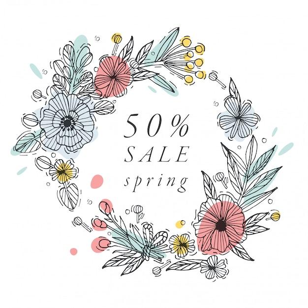 手は、春のセールカードカラフルな色のための花を描きます。タイポグラフィと特別販売のアイコンは、背景、バナーまたはポスター、その他の印刷物を提供します。