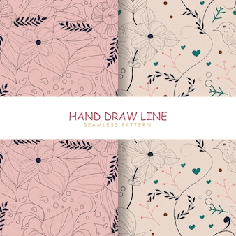 Hand draw flowers line seamless pattern