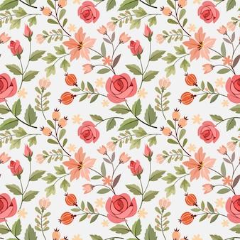 손으로 그리는 꽃 원활한 패턴