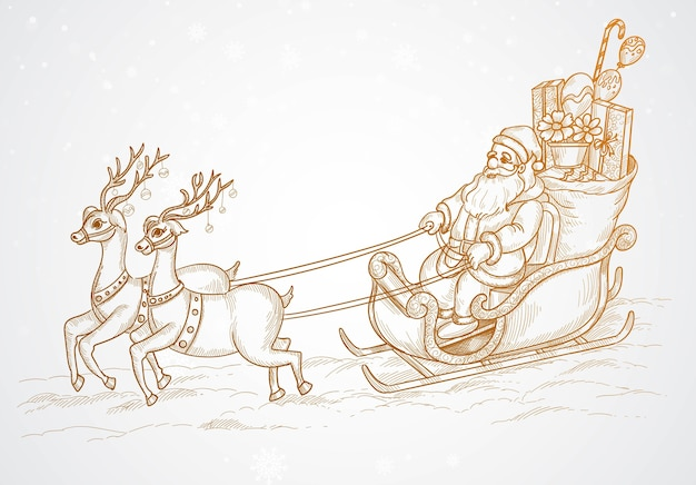 Hand draw flying santa and christmas reindeer sketch
