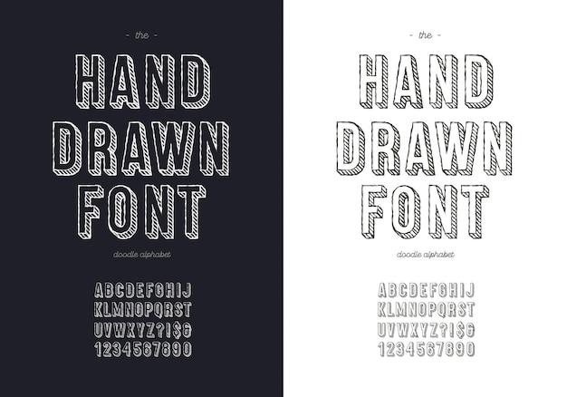 T 셔츠에 대한 손 그리기 글꼴 세트