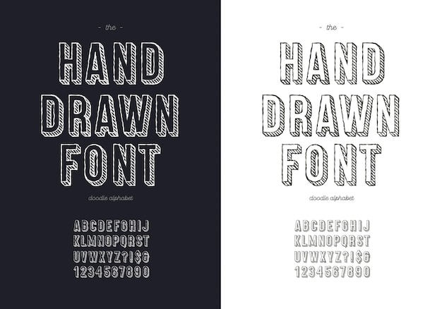 Hand draw font set for t shirt