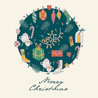 손으로 크리스마스 인사말 패턴을 그립니다.