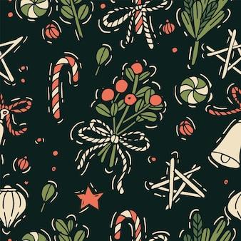 クリスマスの挨拶パターンの手描き。