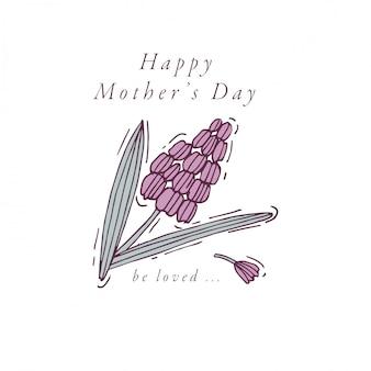 母の日グリーティングカードカラフルな色の手描き。タイポグラフィと春の休日の背景、バナーやポスター、その他の印刷物のアイコン。