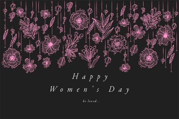 女性のdayg reetingsカードネオンカラーの手描き。 3月8日の背景、バナーやポスター、その他の印刷物のためのタイポグラフィとアイコン。春の休日の要素。