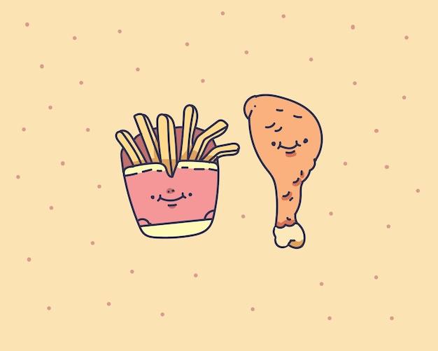 손으로 감자 튀김 그림을 그립니다. 감자 튀김